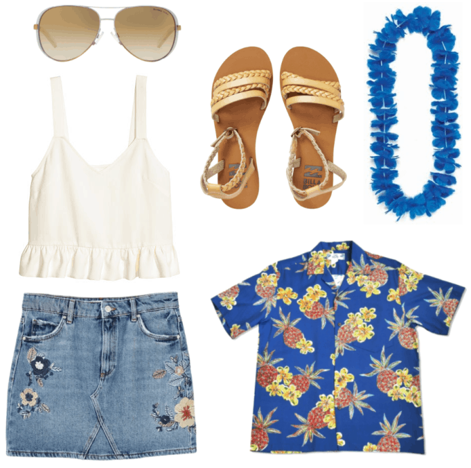 Hawaiian Luau Party Outfit with embroidered denim skirt, ruffle tank in cream, blue and yellow hawaiian print shirt, sandals, lei, aviator sunglasses