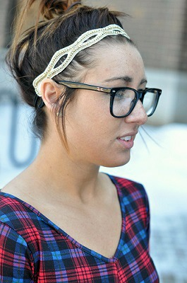 Headband and glasses on campus