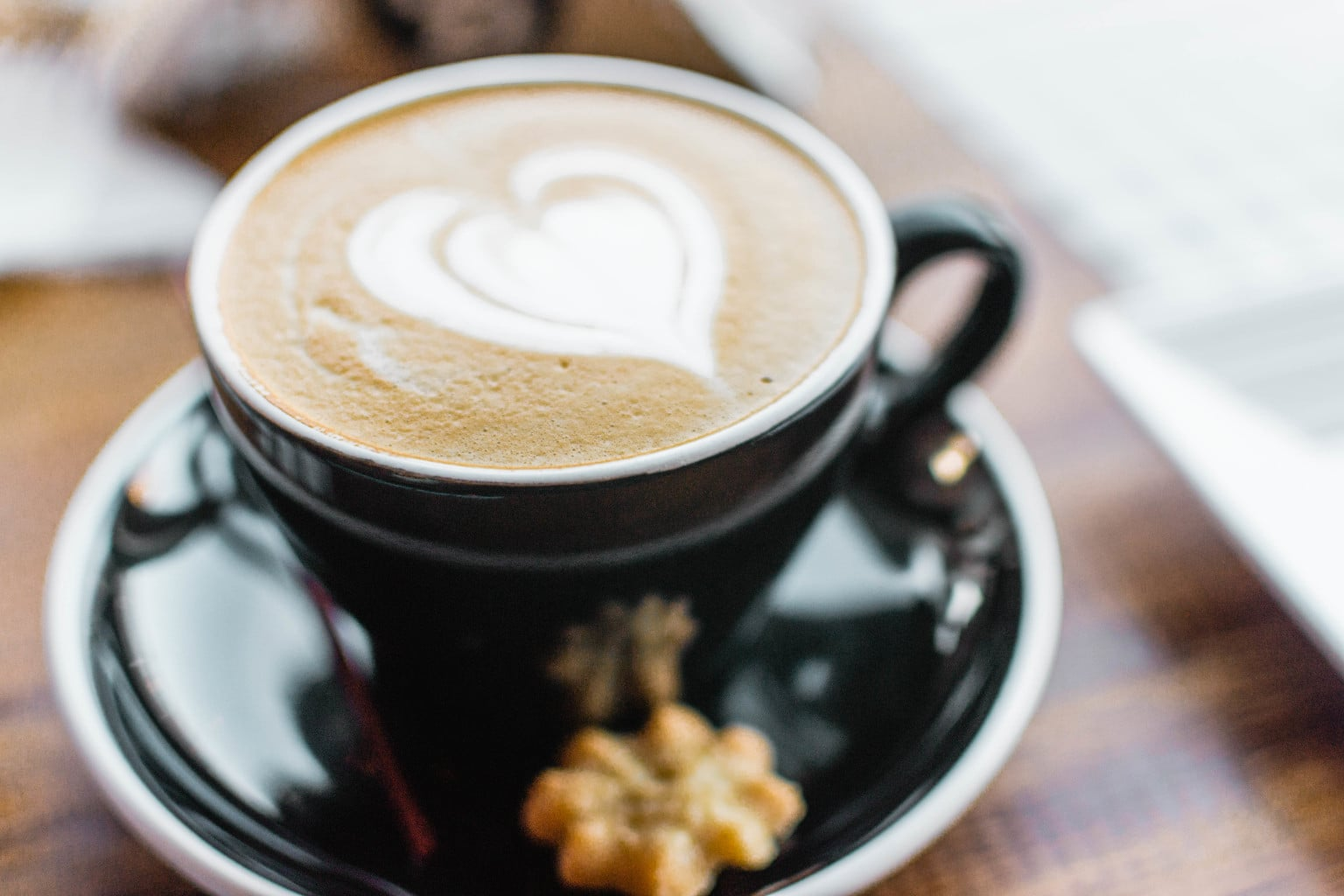 Coffee with a heart shaped milk design