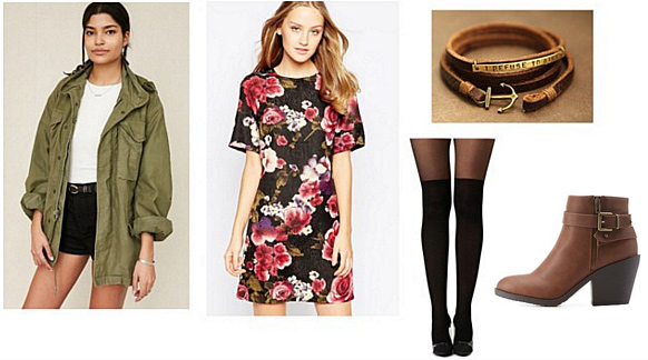 Heart of Darkness inspired outfit: Floral dress, anorak jacket, tights, ankle boots