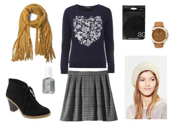 Heart sweater plaid skirt