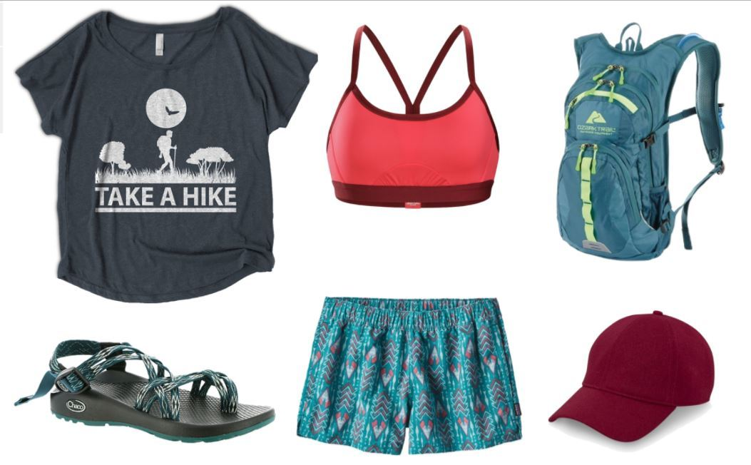 Hiking apparel for the heat: Punny t-shirt made from lightweight material; brightly-colored sports bra; sleek backpackcontaining water reservoir; Chacos; patterned shorts; baseball cap