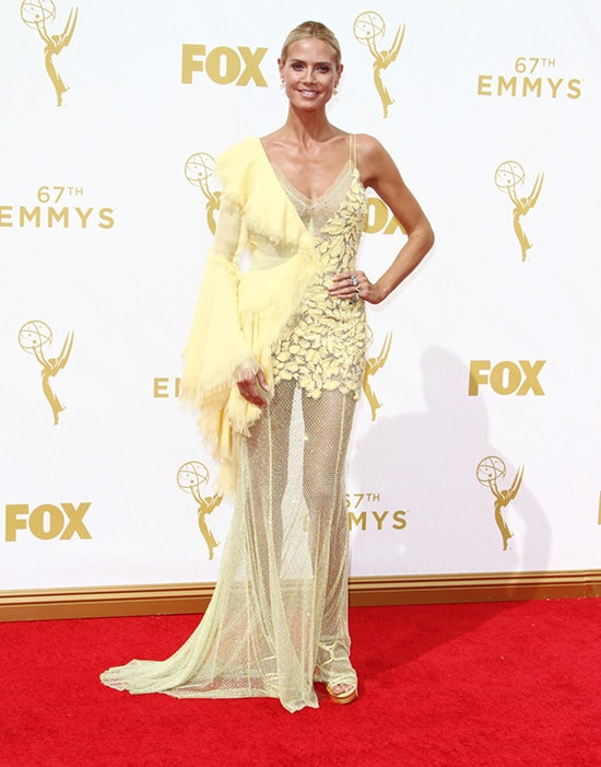 Heidi Klum in Versace at the 2015 Emmy Awards