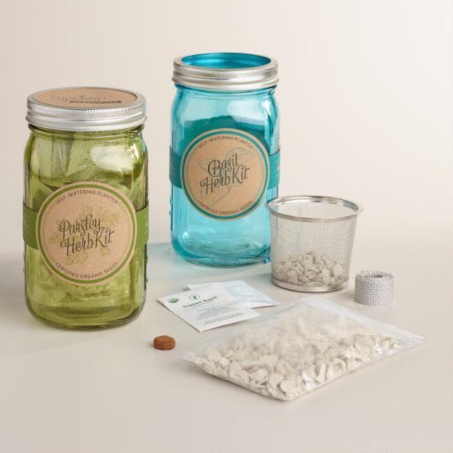 Gift ideas for parents: Organic Herb Mason Jar Kit