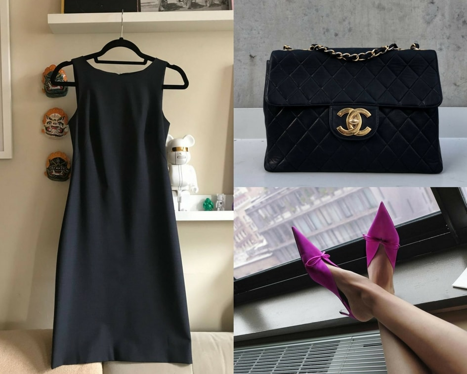 Theory dress, Chanel bag, Balenciaga mules