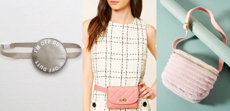 """More affordable fanny packs, from left-to-right: a metallic muted silver round fanny pack from Aerie that says """"I'm off duty,"""" a small quilted pink belt bag from Forever 21, and a pink soft Shearling fur waist bag from Anthropologie."""
