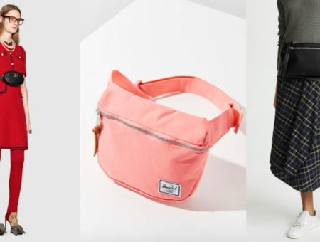 High end fanny packs are increasingly popular. From left-to-right: Gucci leather belt bag, a coral Hershel Supply Co. fanny pack from Urban Outfitters, and a large leather black Rag & Bone fanny pack with zippers.