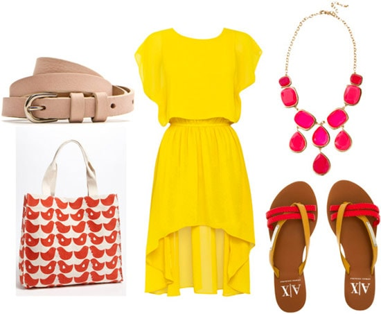 How to style a high-low hem 'mullet' dress for day with a pink statement necklace, bird print tote bag, beige belt, and colored flip flops