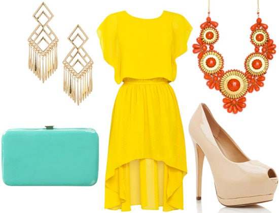 How to style a high-low hem 'mullet' dress for night with an orange statement necklace, nude pumps, gold drop earrings, and a mint clutch