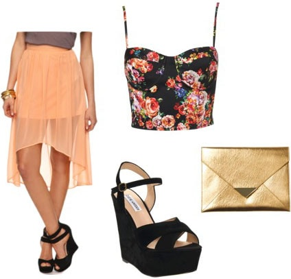 How to wear a sheer high-low peach skirt with a floral bustier-style crop top, gold metallic clutch and black wedges