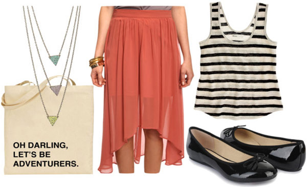 How to wear a rust colored high low skirt for day with a striped tank, black flats and a tote bag