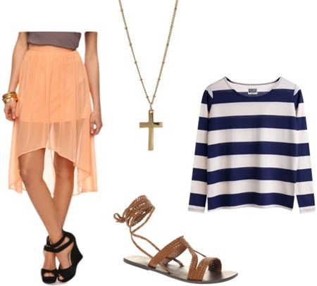 How to wear a sheer high-low peach skirt with a 3/4 sleeve striped tee, gladiator sandals and a cross necklace