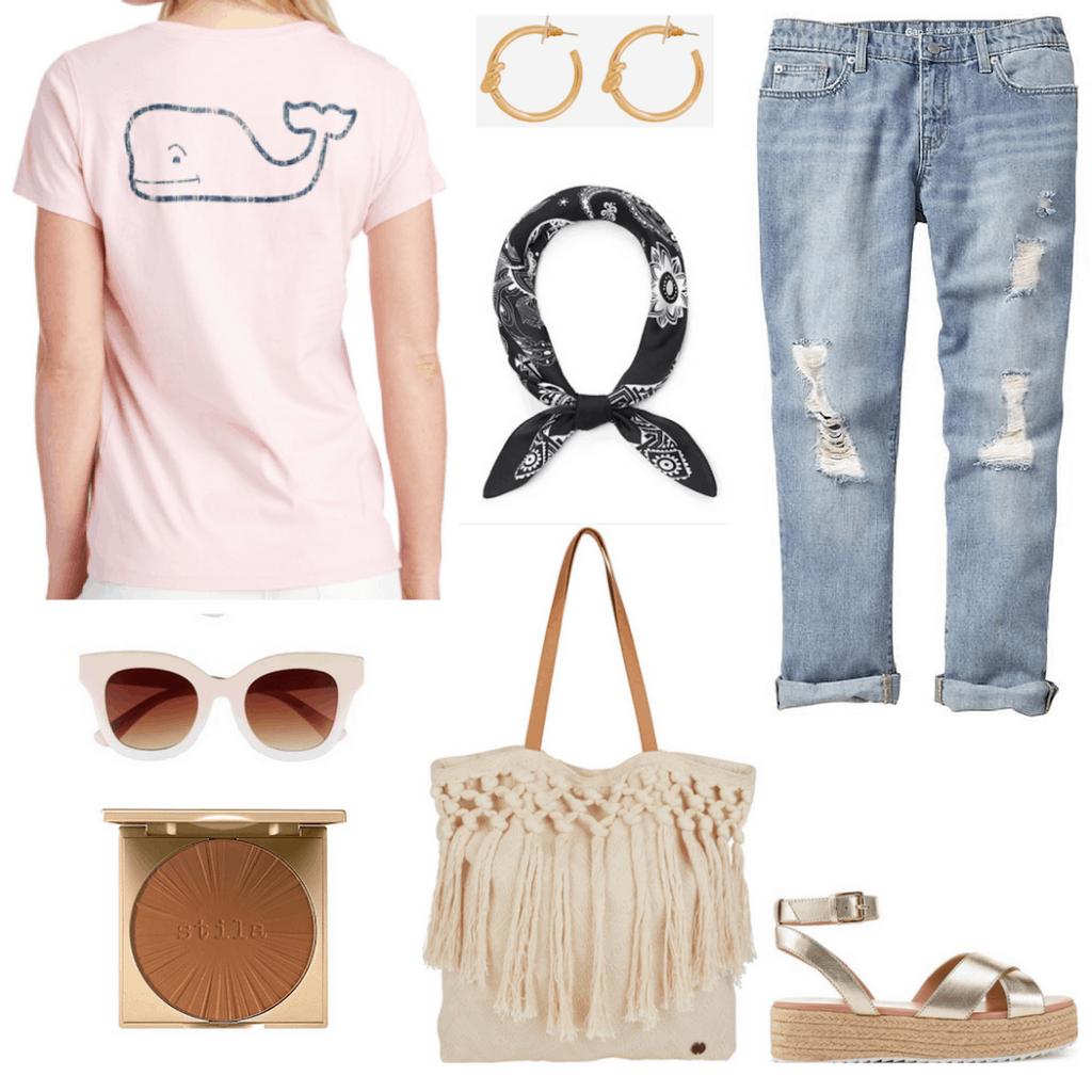 vineyard vines tee, sunglasses, bronzer, hoop earrings, bandanna, tote bag, boyfriend jeans, platform espadrilles