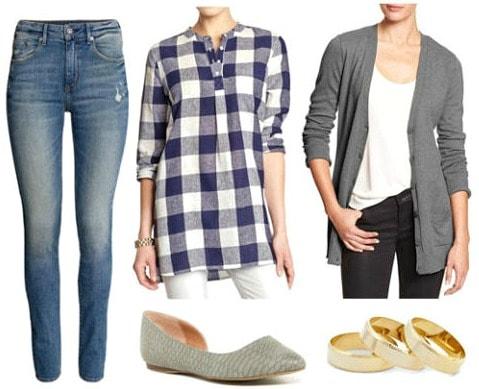 High waist jeans plaid shirt gray cardigan look