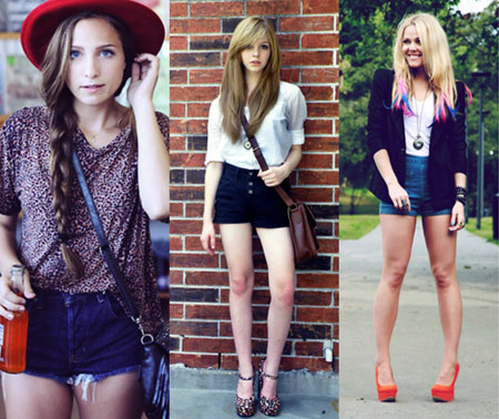 The high-waisted denim shorts trend seen on street style fashionistas