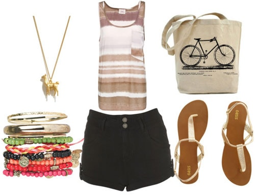 how to wear high waisted shorts for day with tie dye tank gold sandals bicycle tote gold llama necklace and multicolored bangles