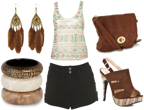 how to wear high waisted shorts for night with a printed tank brown cross body bag brown platform sandals bangles and gold feather earrings