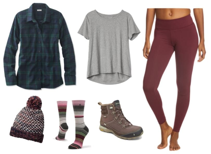 Layered hiking apparel for chilly weather: flannel button-down with a light grey undershirt; sturdy hiking boots, strippy wool socks; leggings made of wicking material, beanie