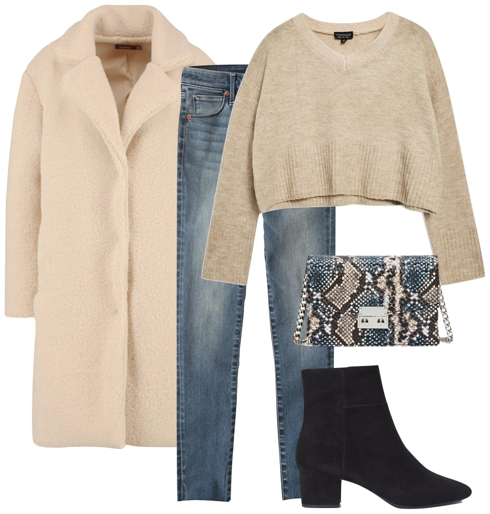 Hilary Duff Outfit: light beige teddy coat, beige V-neck sweater, skinny jeans, snake print bag, and black ankle booties