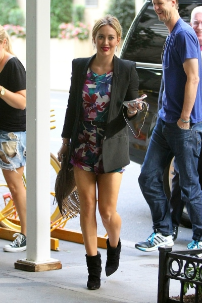 Hilary Duff in a floral romper and blazer