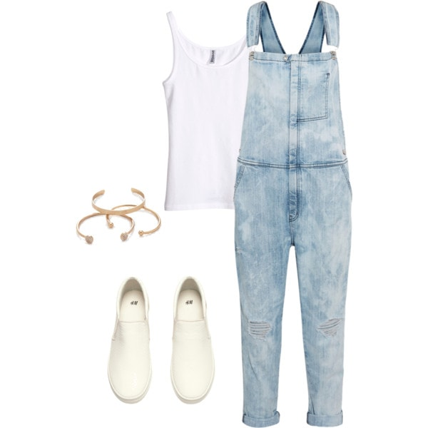 overalls and white tank