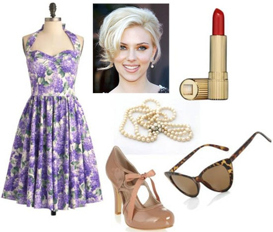 Fashion inspired by Hily Holbrook from The Help: Lavender floral dress, mary jane heels, cat eye sunglasses, beehive updo, pearl necklace