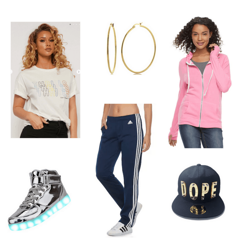 Hip Hop-inspired outfit with graphic tee, track pants, hoodie, hoop earrings, sneakers, and baseball cap
