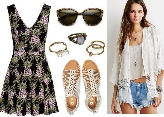 H&M Printed Dress, Kimono, Sandals