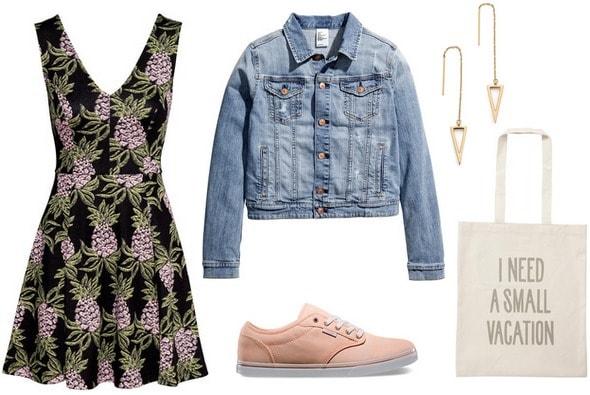 H&M Printed Dress, Denim Jacket, Sneakers
