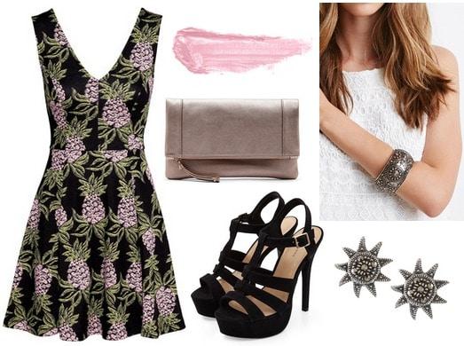 H&M Printed Dress, Black Sandals, Bronze Clutch