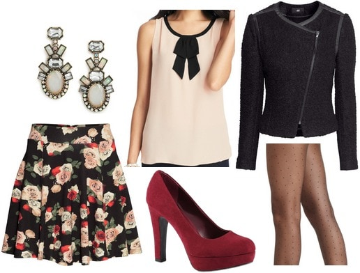 H&M floral skirt, bow blouse, zip up jacket, red pumps