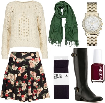 H&M floral skirt, cable knit sweater, riding boots, scarf