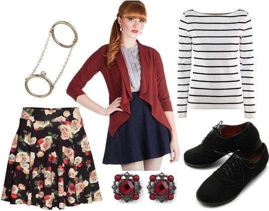 H&M floral skirt, stripe tee, draped blazer, oxfords