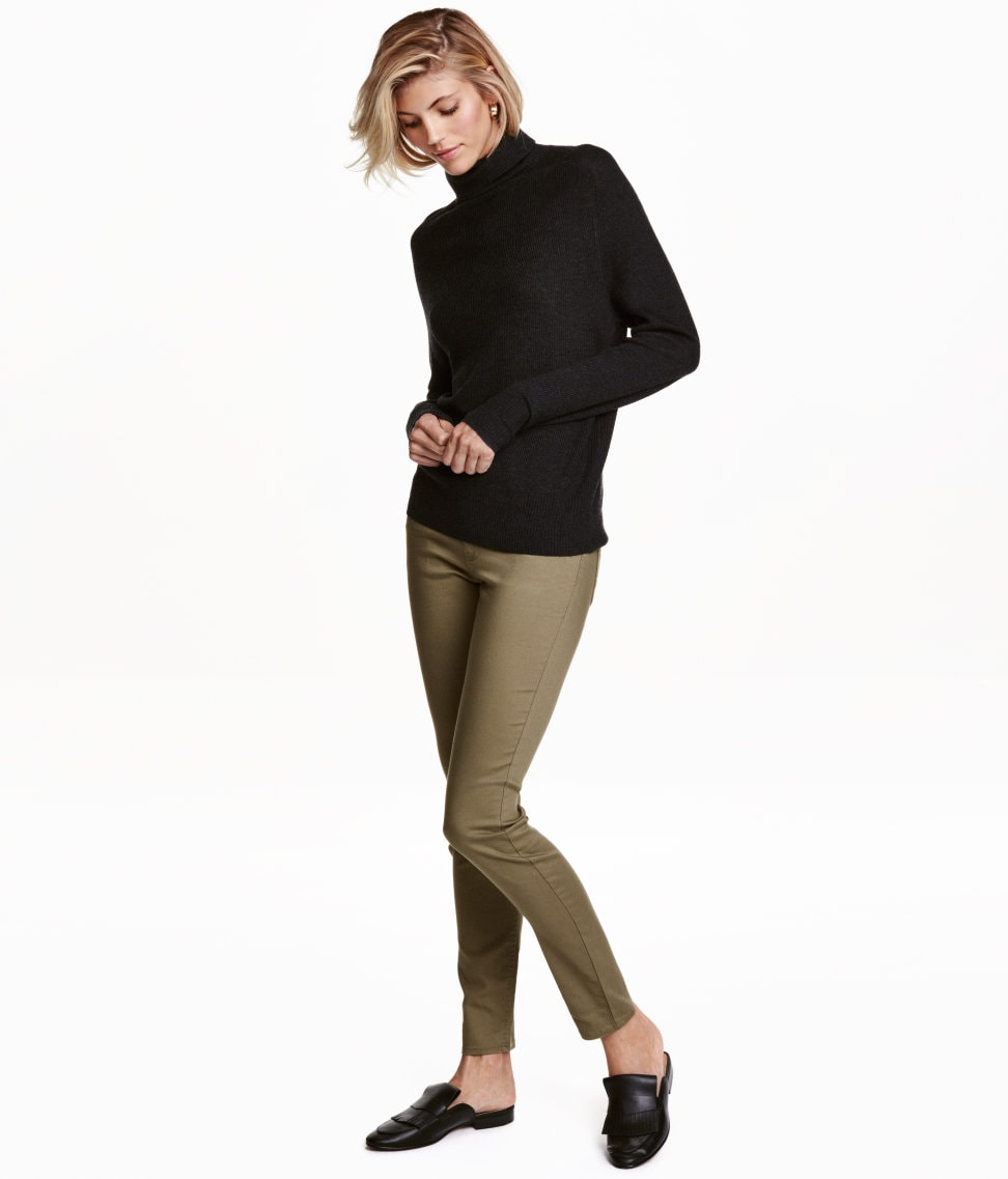 H&M slim fit pants in light khaki