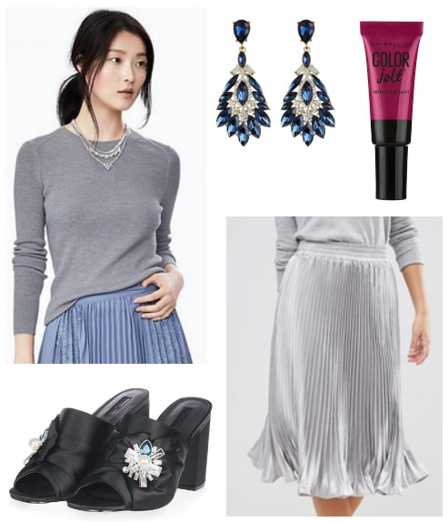 pleated metallic skirt and gray sweater holiday look
