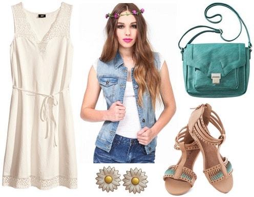 Hm lace dress, denim vest, sandals