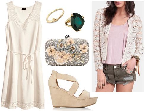 Hm lace dress, lace cardigan, wedges