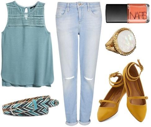 H&m lace top, boyfriend jeans, mustard flats