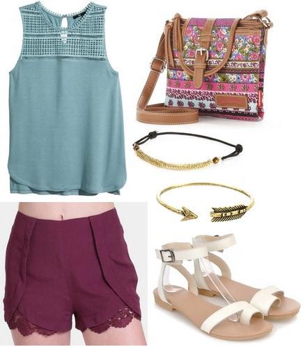 H&m lace top, deep purple shorts, neutral sandals