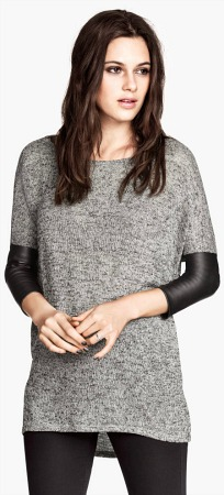H&m leather sleeve sweater