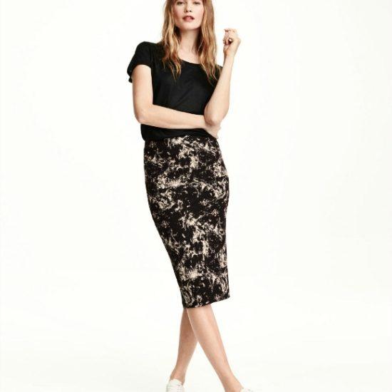 H&M Marble Print Pencil Skirt