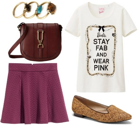 Hm skirt, graphic tee, printed loafers