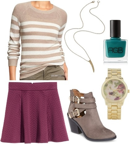 Hm skirt, stripe sweater, ankle boots