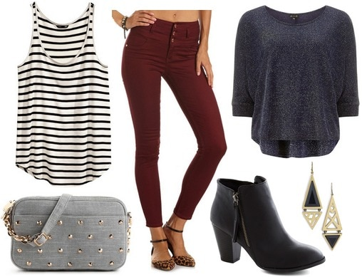 H&m stripe tank top, burgundy skinny jeans, pullover sweater, ankle boots