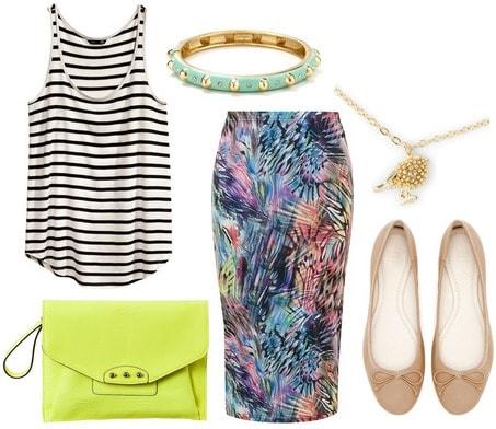 H&m stripe tank top, midi skirt, ballet flats, neon clutch