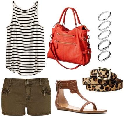 H&m stripe tank top, shorts, sandals, coral bag