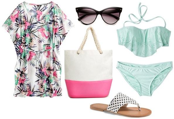 Hm tunic, mint bikini, beach tote, polka dot sandals