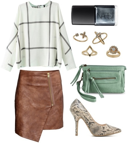 H&M wrap skirt, blouse, snake print pumps, mint green bag
