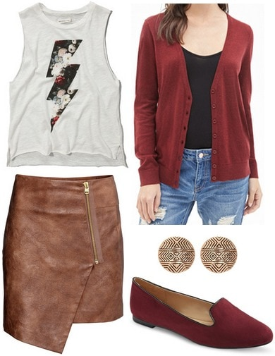 H&M wrap skirt, graphic tank, cardigan, loafers