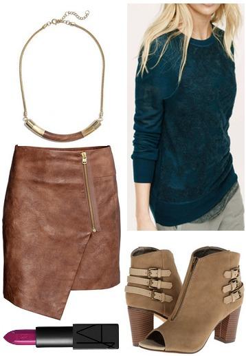 Hm wrap skirt, teal sweater, booties